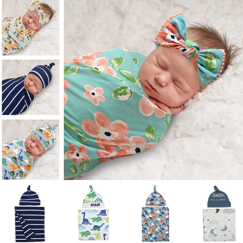 Newborn Cotton Wrap Blanket + Cap  Muslin swaddle - Baby World Inc