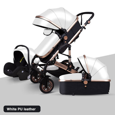 Newborn Baby Stroller 3 in 1 High Landscape Carriage Luxury Travel Pram Basket quality Stroller Baby Car seat Hot Sale New Grey - Baby World Inc