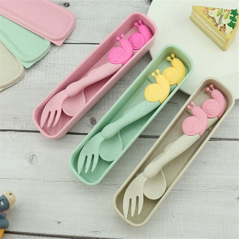 2 pcs/set Baby Spoon Fork Non-slip Elbow Spoon Fork - Baby World Inc