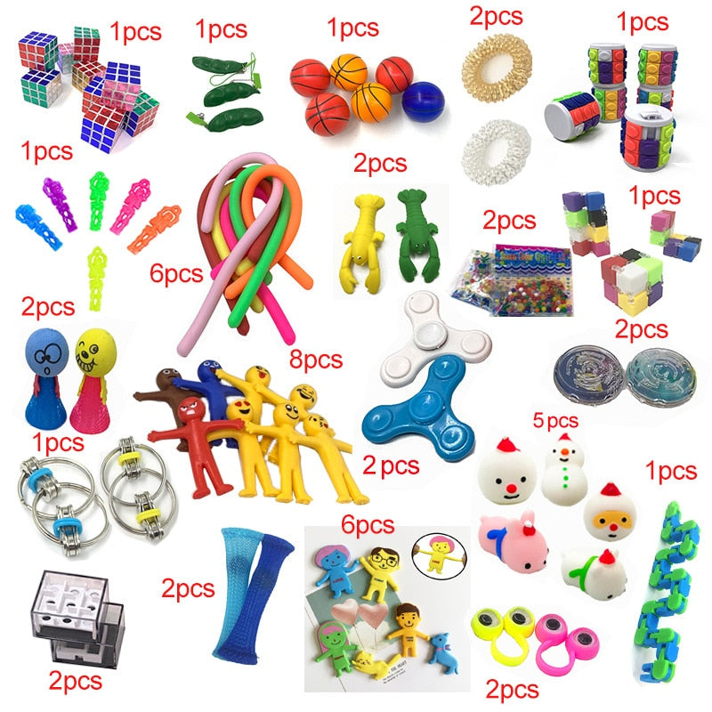 2020 New Funny Combination 50 Pieces Extrusive-Solving Fidget Kids Toys Hot Selling Various Styles Toy Set Wholesale - Baby World Inc