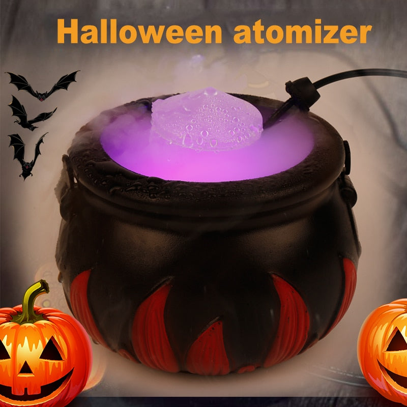 16W Halloween Smoke Machine Fog Mist Maker Color Changing Cauldron Shape Decoration - Baby World Inc