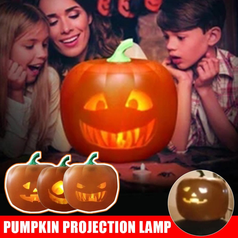 3-In-1 Spot Halloween Flash Talking Animated LED Pumpkin Projection Lamp with Built-In Projector Speaker for Home Party - Baby World Inc