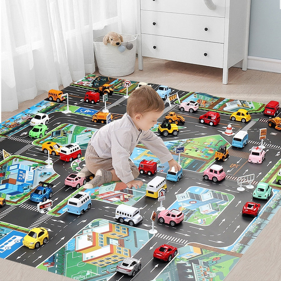 Baby Play Mat Road Carpet for Kids Cartoon Traffic Rug Little Boys and Girls Indoor Toys Playmat Babies Playing Educational Mat - Baby World Inc