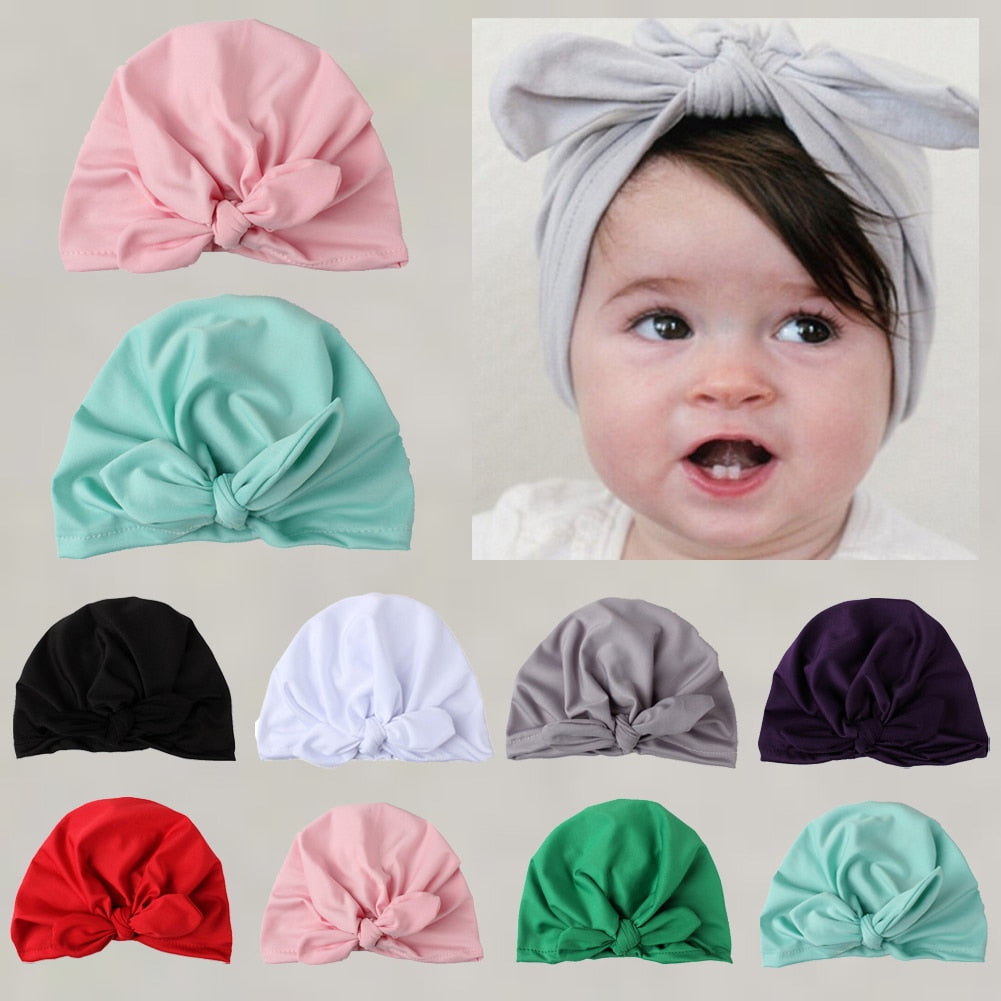 Brand New Newborn Toddler Kids Baby Boy Girl Turban Cotton Bowknot Candy Color Solid Warm Beanie Hat Hospital Winter Cap - Baby World Inc