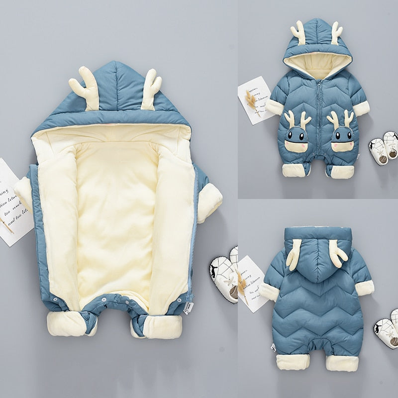 2020 Baby Winter Snowsuit Plus Velvet Thick Baby Boys Jumpsuit 0-2 Years Newborn Romper Baby Girls Overalls Toddler Coat - Baby World Inc