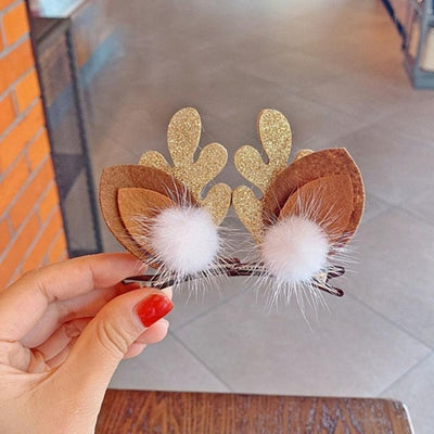 4Types Christmas Hair Accessories Antlers Hairpin Girl Holiday Headband Children Headdress Furry Winter Hairpin Bebes Baby Girl - Baby World Inc