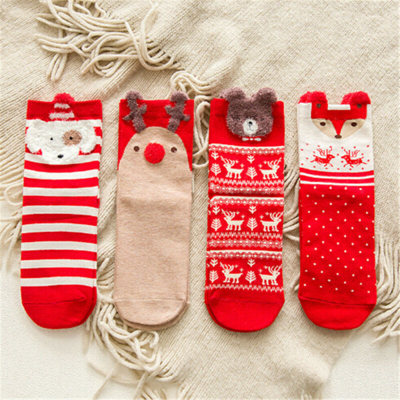 Christmas Bear Sock Santa Claus Gift Kids Unisex Xmas Funny Girl Women Winter Autumn Warm Red Striped Terry Snowflake Elk Cotton - Baby World Inc
