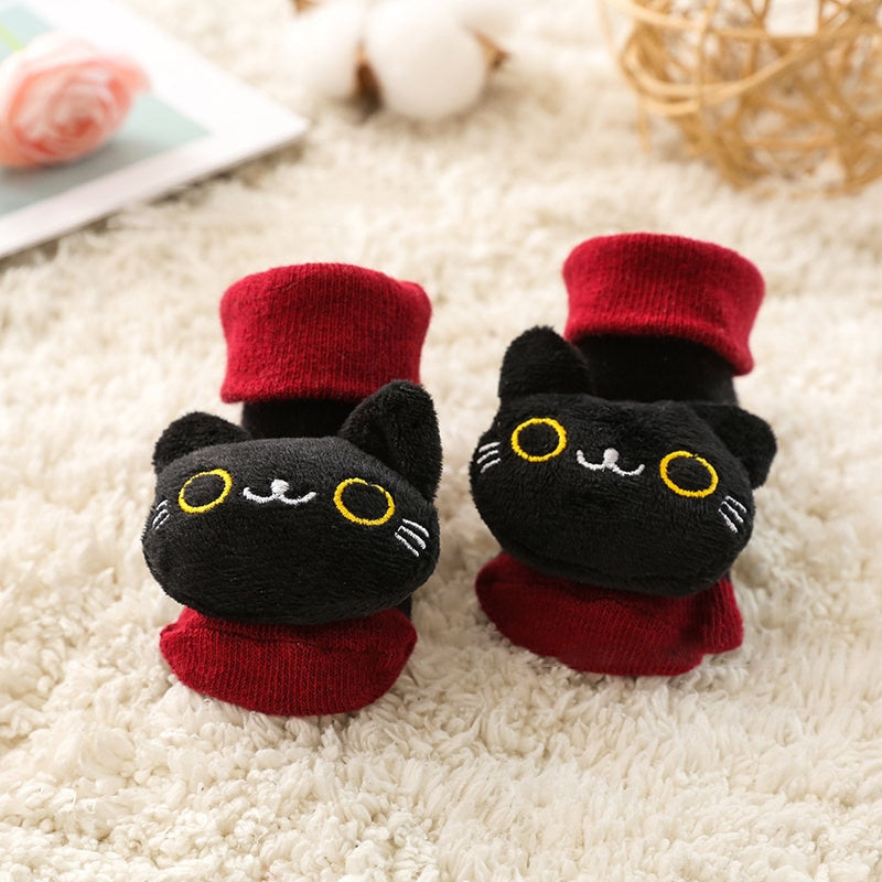 Hot Selling Baby Socks Floor Non-slip Cotton Cute Cartoon Doll Socks With Bells Baby Girls Boys Soft Cute Winter Boots - Baby World Inc