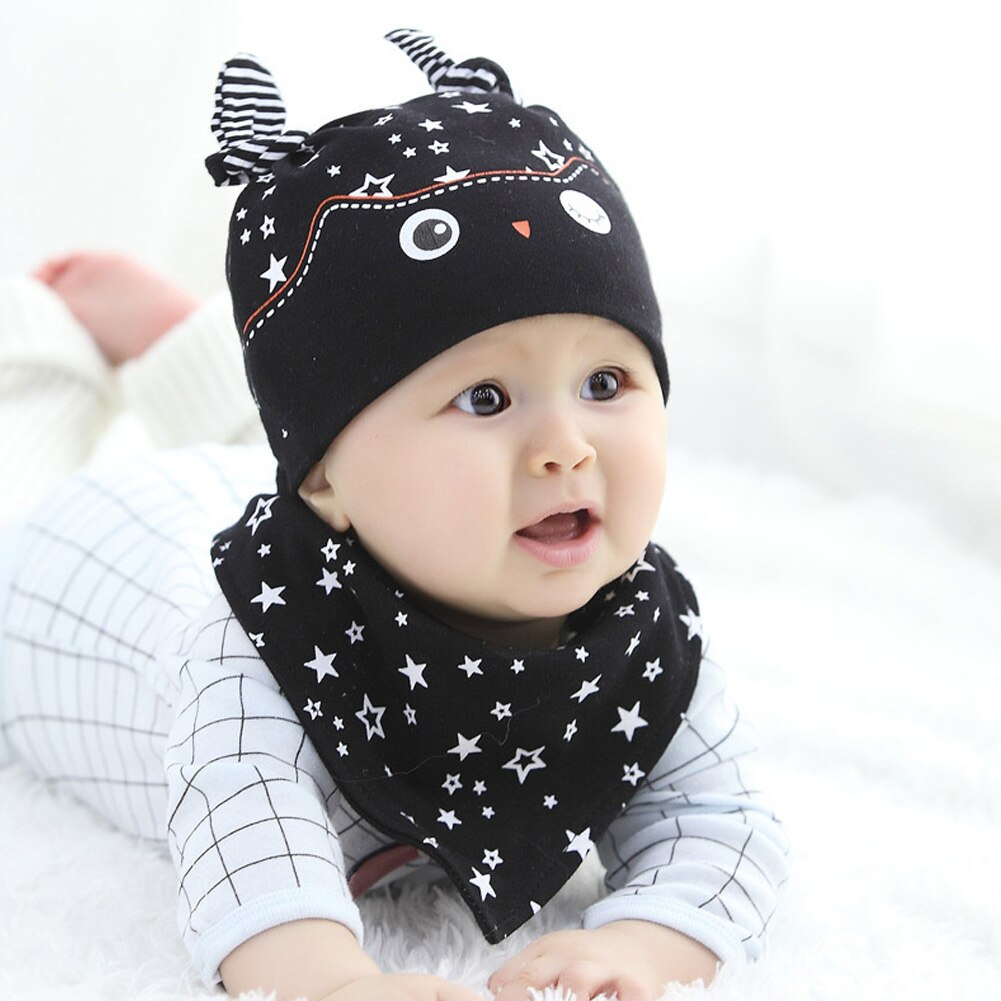 Toddler Kids Baby Boy Girl Winter Warm Knitted Crochet Beanie Hat Cap Scarf Set Cartoon owl Pattern Lovely hats cap - Baby World Inc
