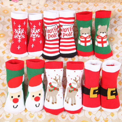 Christmas Themed Children Pure Cotton Cartoon Jacquard Socks Autumn Winter Kids Baby Absorb Sweat Permeability Unisex Socks - Baby World Inc