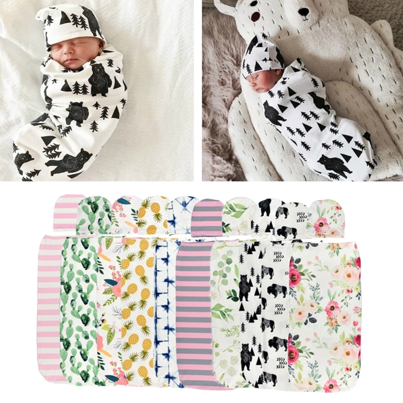 Baby Swaddle Blanket + Cap Newborn Cocoon Wrap - Baby World Inc