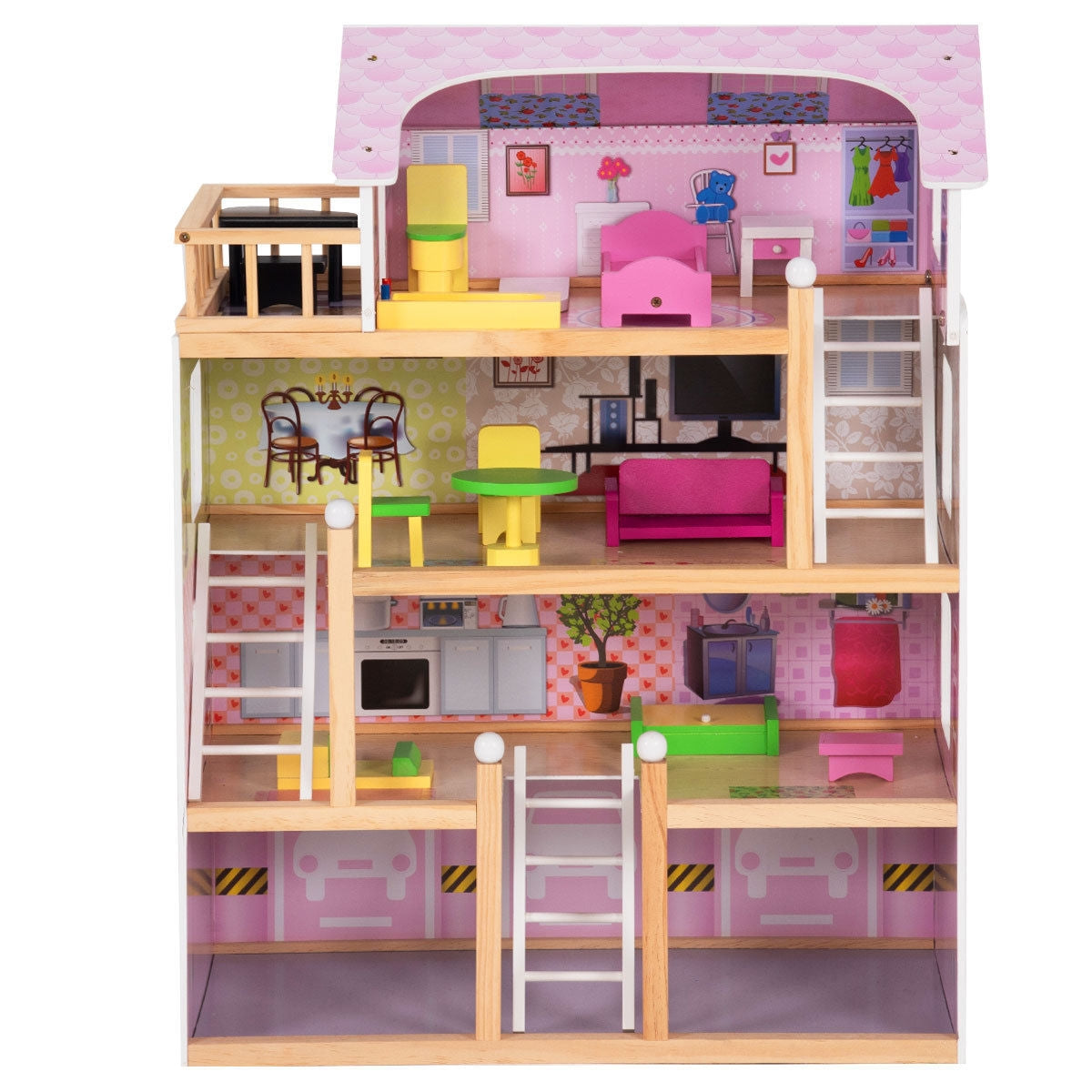 Kids Wood Dollhouse Cottage Playset with Furniture C136 - Baby World Inc