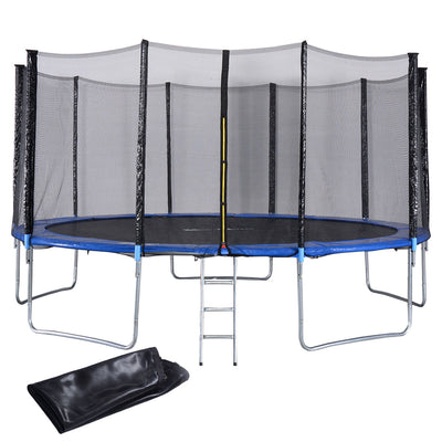 15 ft Trampoline w/ Safety Enclosure Net, Spring Pad, Ladder & Rain Cover C91 - Baby World Inc