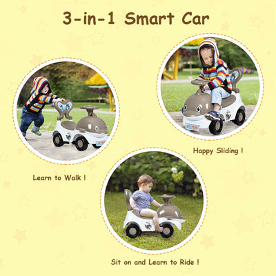 3-in-1 Baby Walker Sliding Car Pushing Cart Toddler Ride-Gray C201 - Baby World Inc