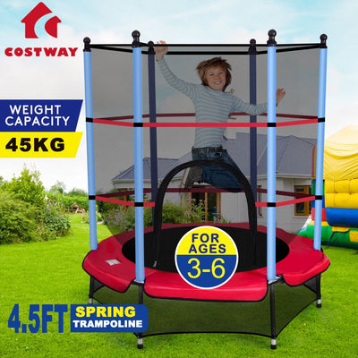 "55"" Kids Trampoline with Safety Pad Enclosure Combo C89 - Baby World Inc"