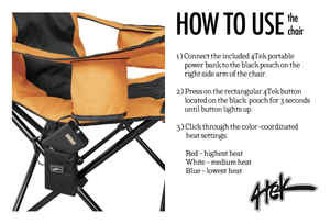 Heated Outdoor Folding Camping Chair & Extra Portable Battery
