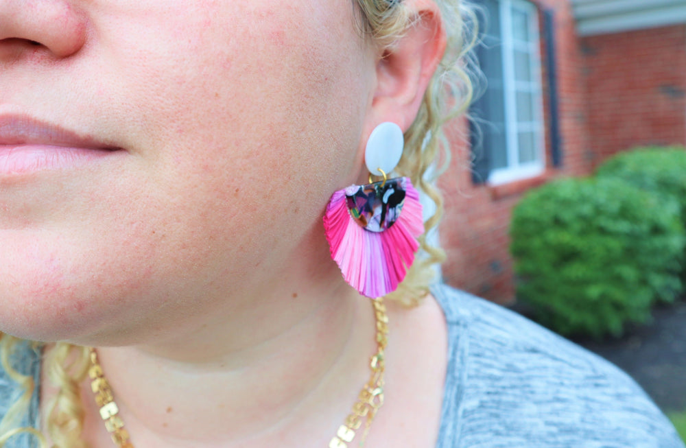 Pink rattan statement earrings