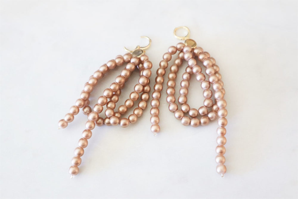 Beige beaded earrings