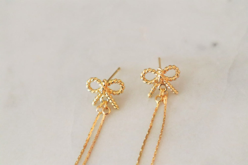 18K gold plated brass BOW earrings