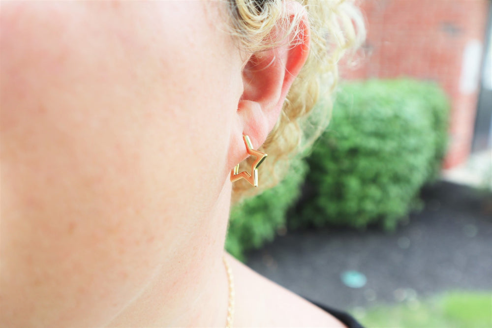 14K Gold plated star earrings
