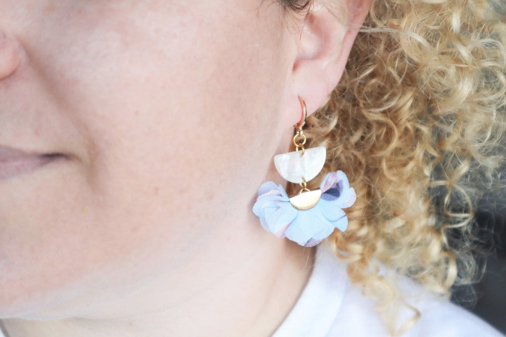 Light-blue flower earrings
