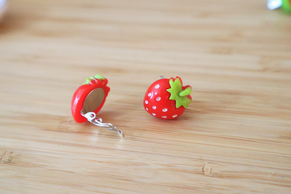 Strawberry clip-on earrings for kids