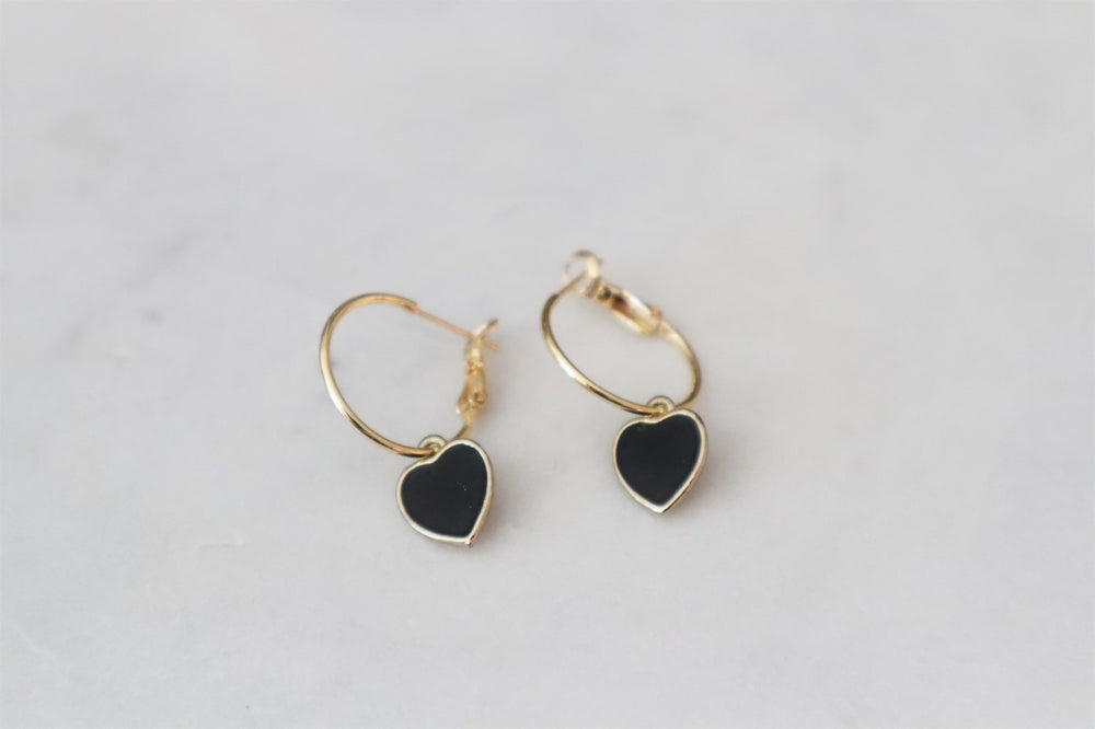 18K Gold plated brass hoop with black heart