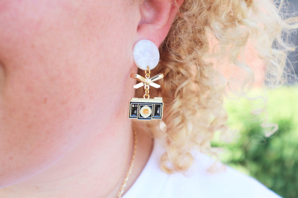 80's camera earrings