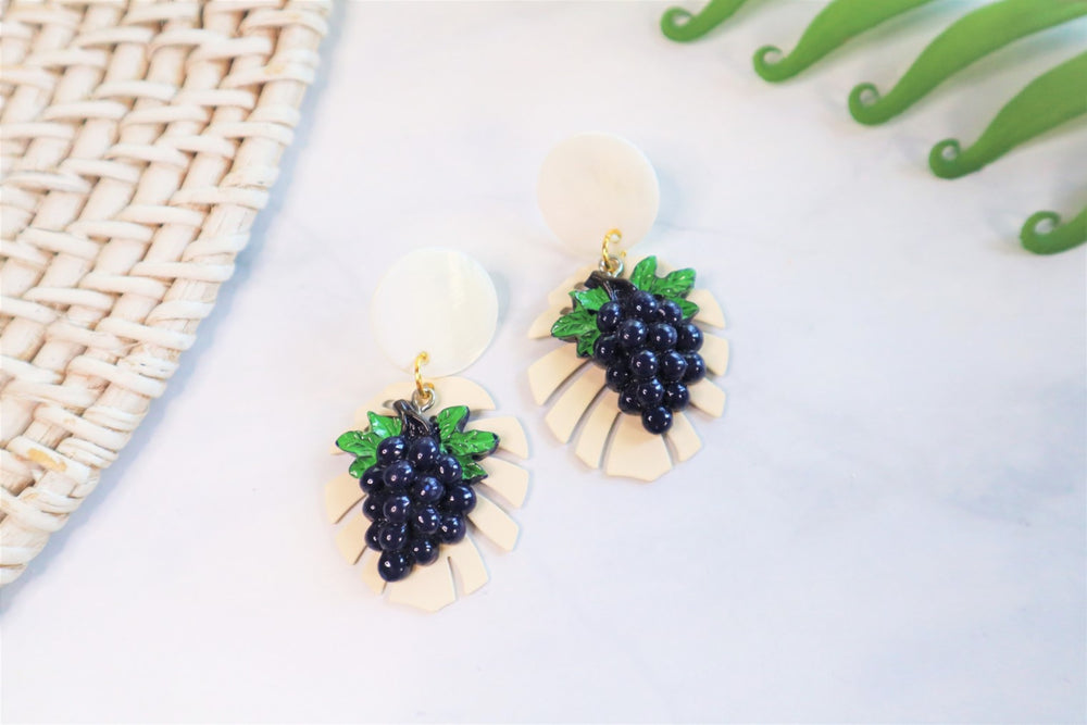 Grapes and Monstera statement earrings