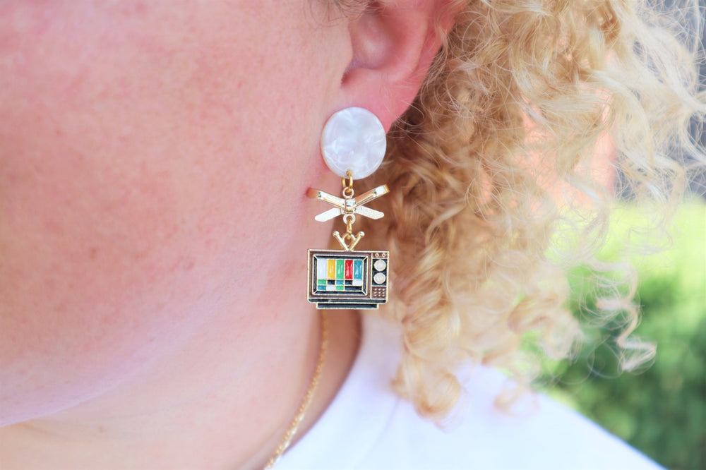 80's television earrings