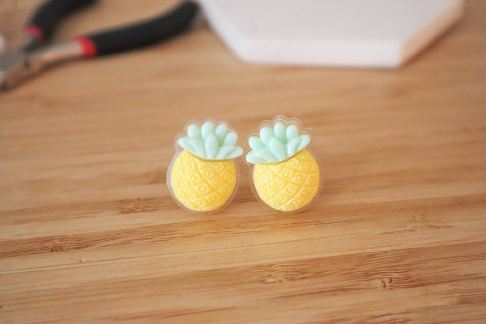 Pineapple clip-on earrings for kids
