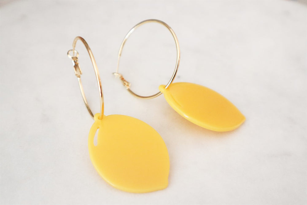 18K Gold Plated Brass Hoop with large lemon