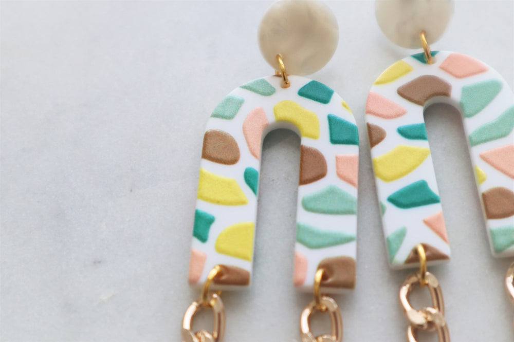 Pastel statement earrings