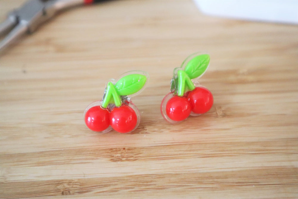 Cherries clip-on earrings for kids
