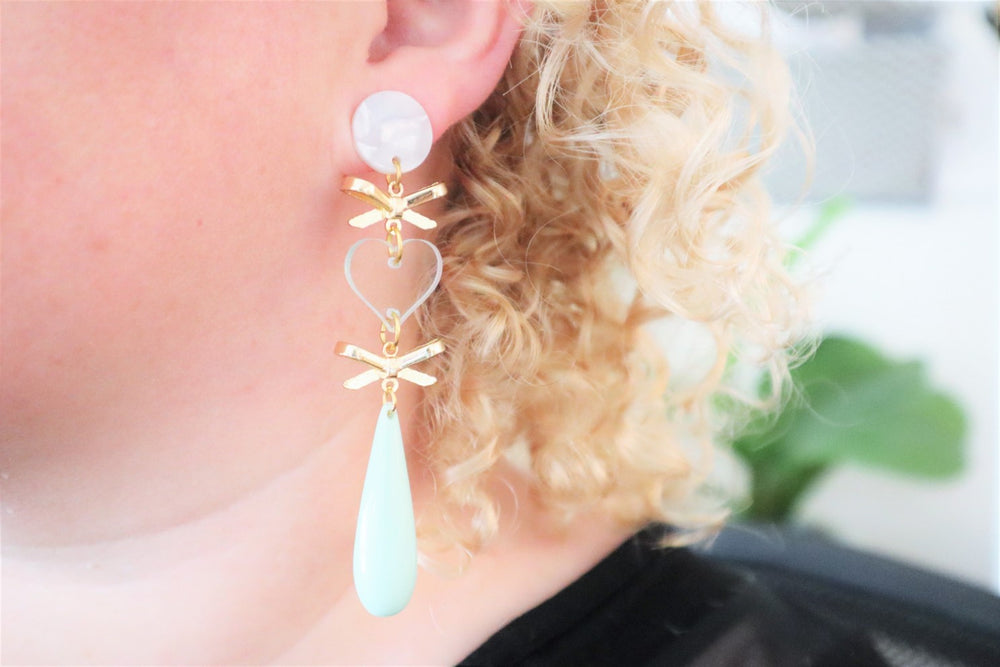 Bow and mint earrings