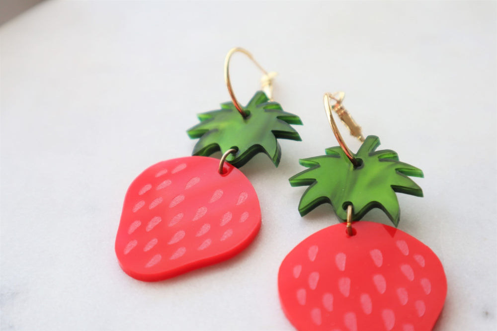 Strawberry statement earrings
