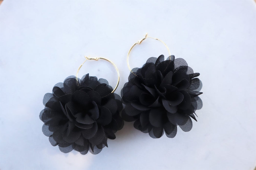 Black flower hoops