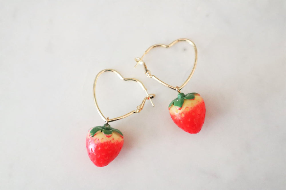 Heart Hoop Earrings with strawberries