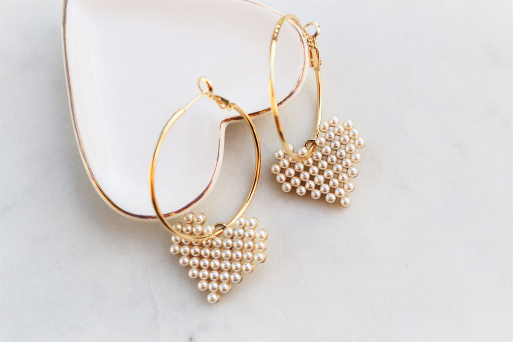 Pearly heart hoops