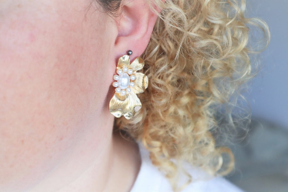 16K gold plated flower earrings