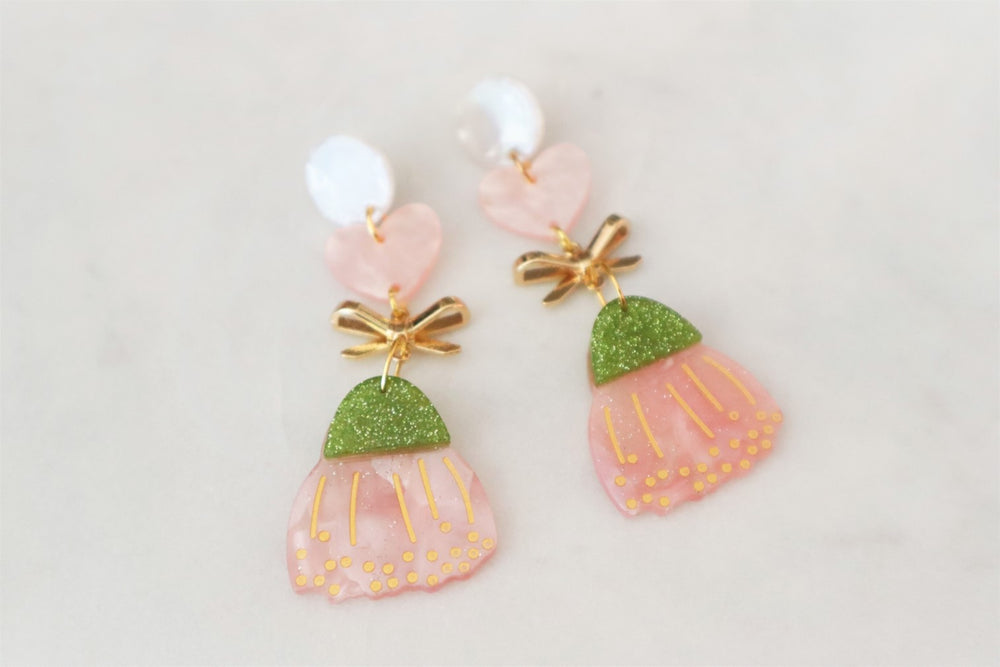 Pink heart and flower earrings
