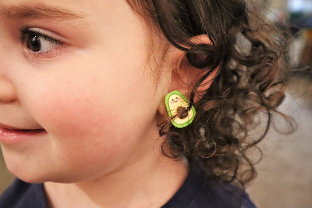 Avocado clip-on earrings for kids