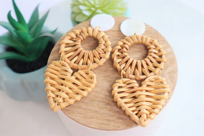 Rattan heart statement earrings