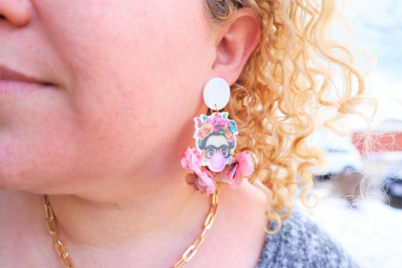 Feminist floral statement earrings
