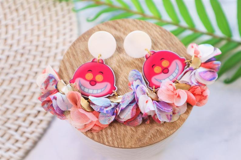 Pink flower statement earrings