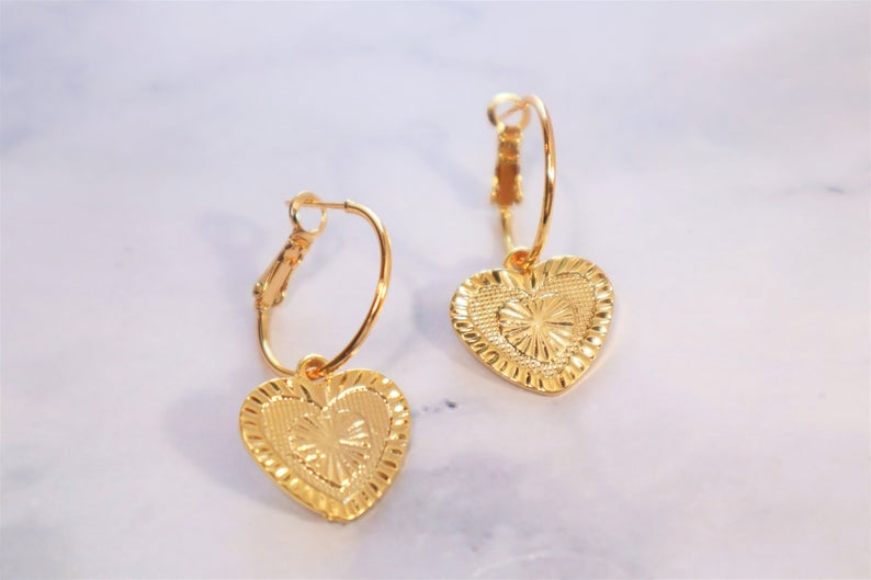 18K Gold plated brass hoop with heart