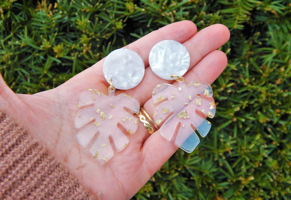Clear Monstera earrings