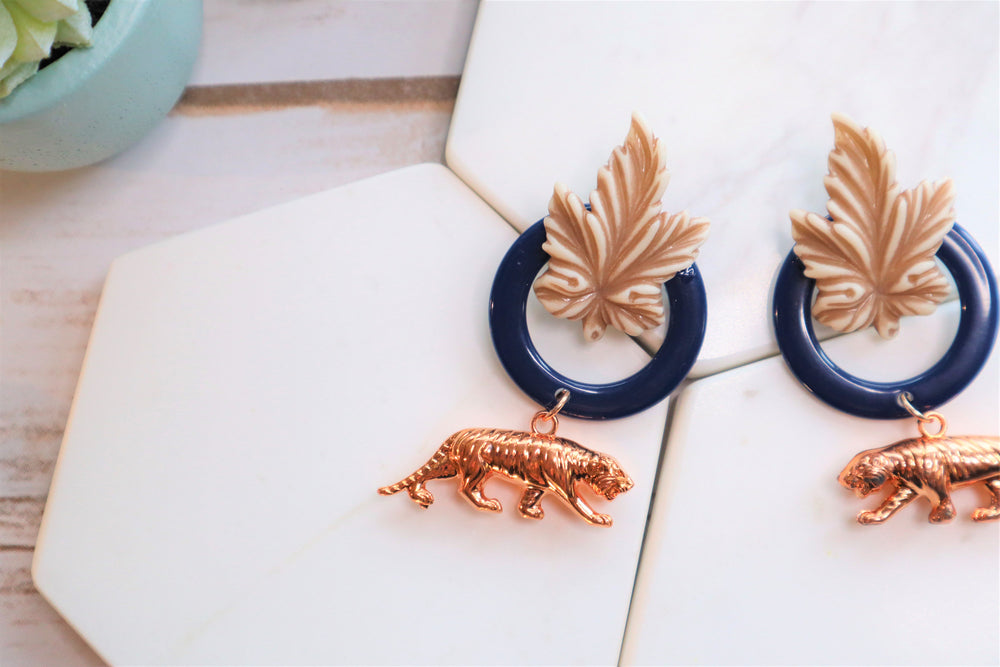 Tiger statement earrings