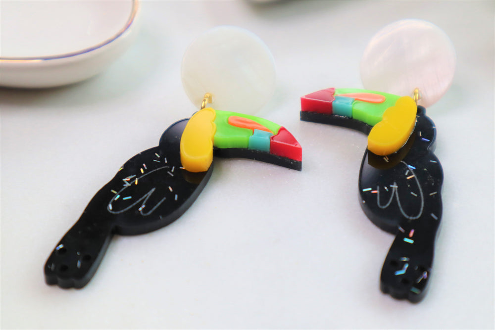 Toucan statement earrings