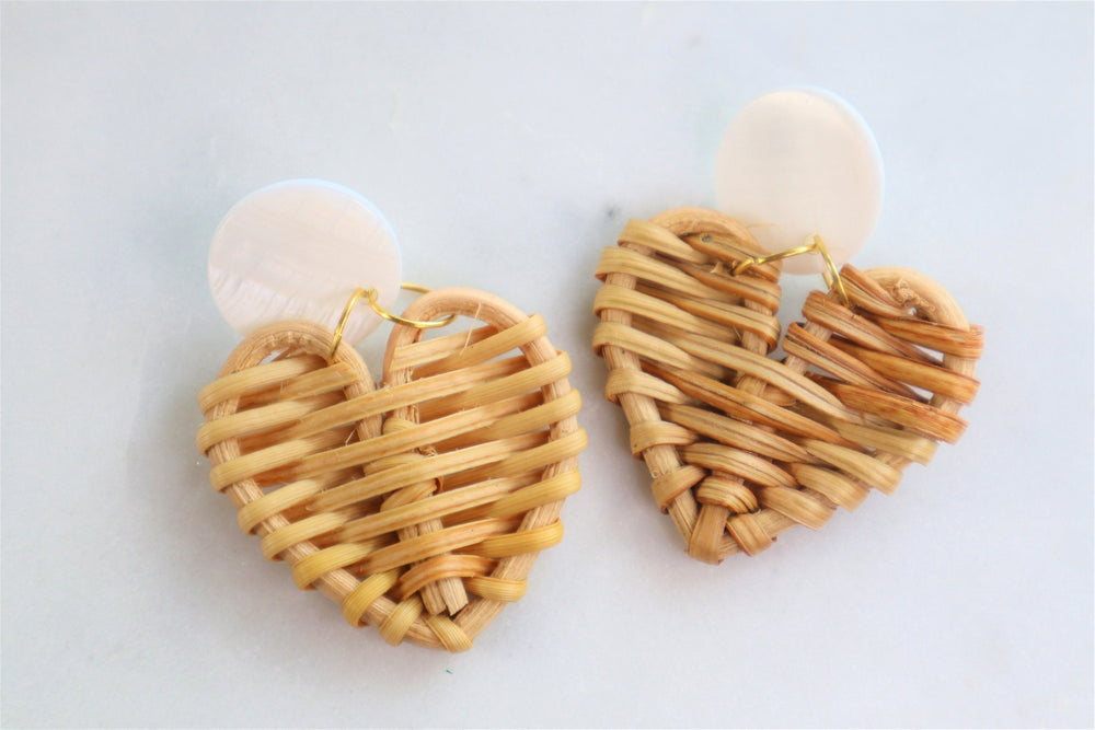 Rattan heart earrings